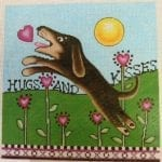 Hugs And Kisses Puppy With Heart Flowers