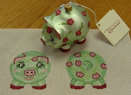 Piggy Bank and Matching Glass Ornament