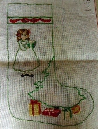 Girl and Tree with Gifts Stocking