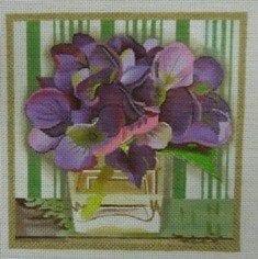 Violets in Square Vase