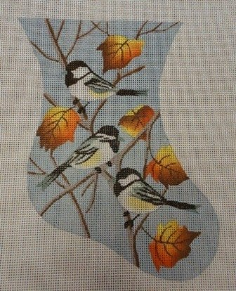 Chickadee Stocking with Leaves