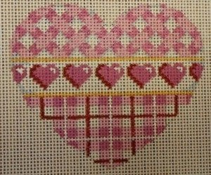 Pink Lattice with Plaid Heart