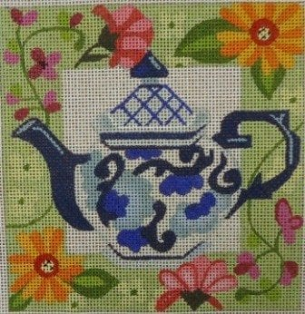 Teapot and Floral Border (fits acrylic box)