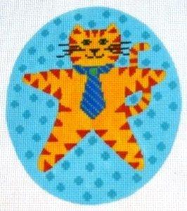 Orange Cat with Blue Background