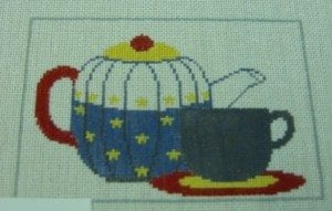 Teapot and Teacup Red Yellow Blue