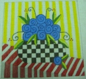 Blue Roses on Striped Tablecloth