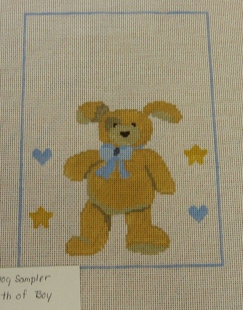 Bunny Dog Baby Birth Sampler in Blue
