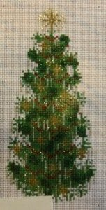 Holly Leaves and Gold Stars Christmas Tree
