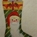 Skinny Mini Sock wtih Santa Face and Gifts