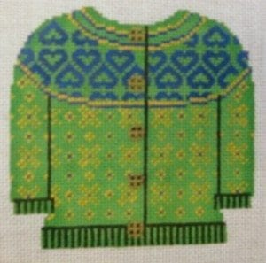 Blue Hearts on Green Sweater with Yellow