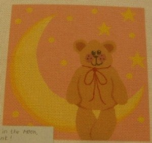 Bear on the Moon with Pink Background