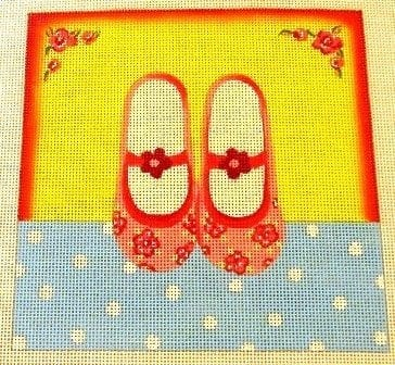 Yellow Background, Pink Ballet Shoes