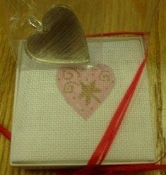 Pink Heart Canvas and Silver Heart Keeper