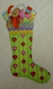 Bright Green Skinny Mini Sock with Teddy Bear and Gifts