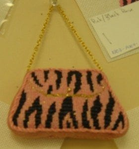 Pink and Black Sripe Purse Ornament