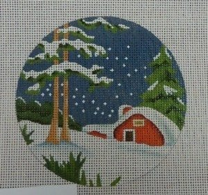 Red Cottage Snow Round Ornament
