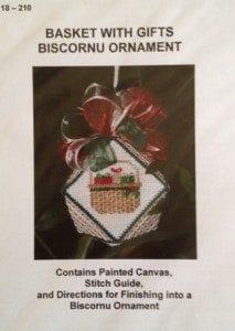 Basket with Gifts Biscornu Ornament