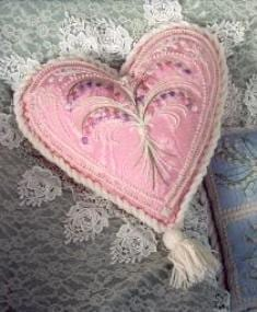 Victorian Heart on Pink Moire Crewel Kit