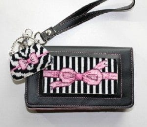 Wristlet Purse with Canvas, Matching Silver Charm and Canvas