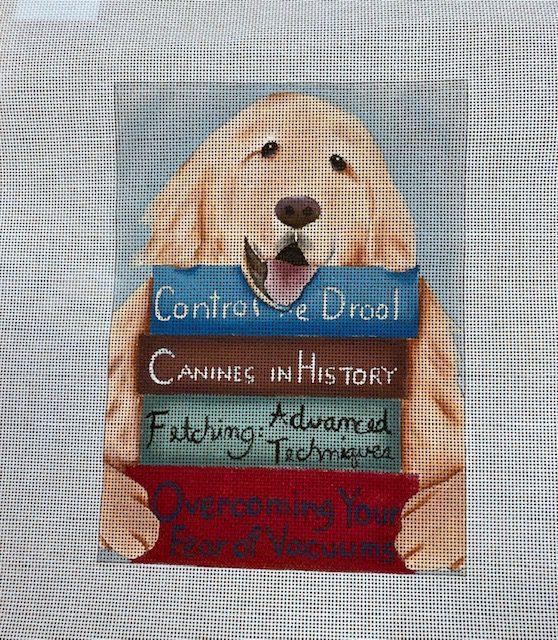 Dog with Books by Ginny Diezel