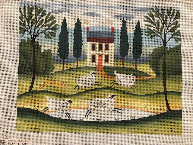 Dog and Flock Folk Art Painting by Diane Ulmer Pedersen